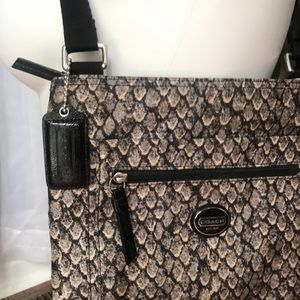 Excellent COACH Snakeskin Print Crossbody Bag